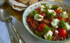 Lentil Salad with Goat Cheese & Sun-dried Tomatoes