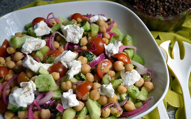 Cucumber and Chickpea Herb Salad