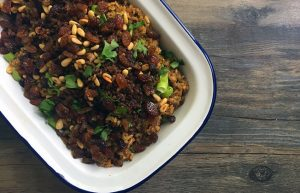 Spiced Freekeh with Minced Beef & Nuts